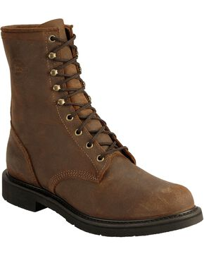 Justin Men's Lace-Up Original Work Boots, Brown, hi-res