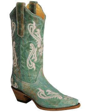 Corral Cortez Fleur-De-Lis Turquoise Cowgirl Boots - Snip Toe, No Color, hi-res