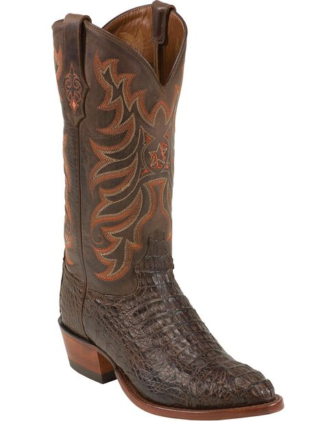 Tony Lama Vintage Hornback Caiman Cowboy Boots - Medium Toe, Brown, hi-res