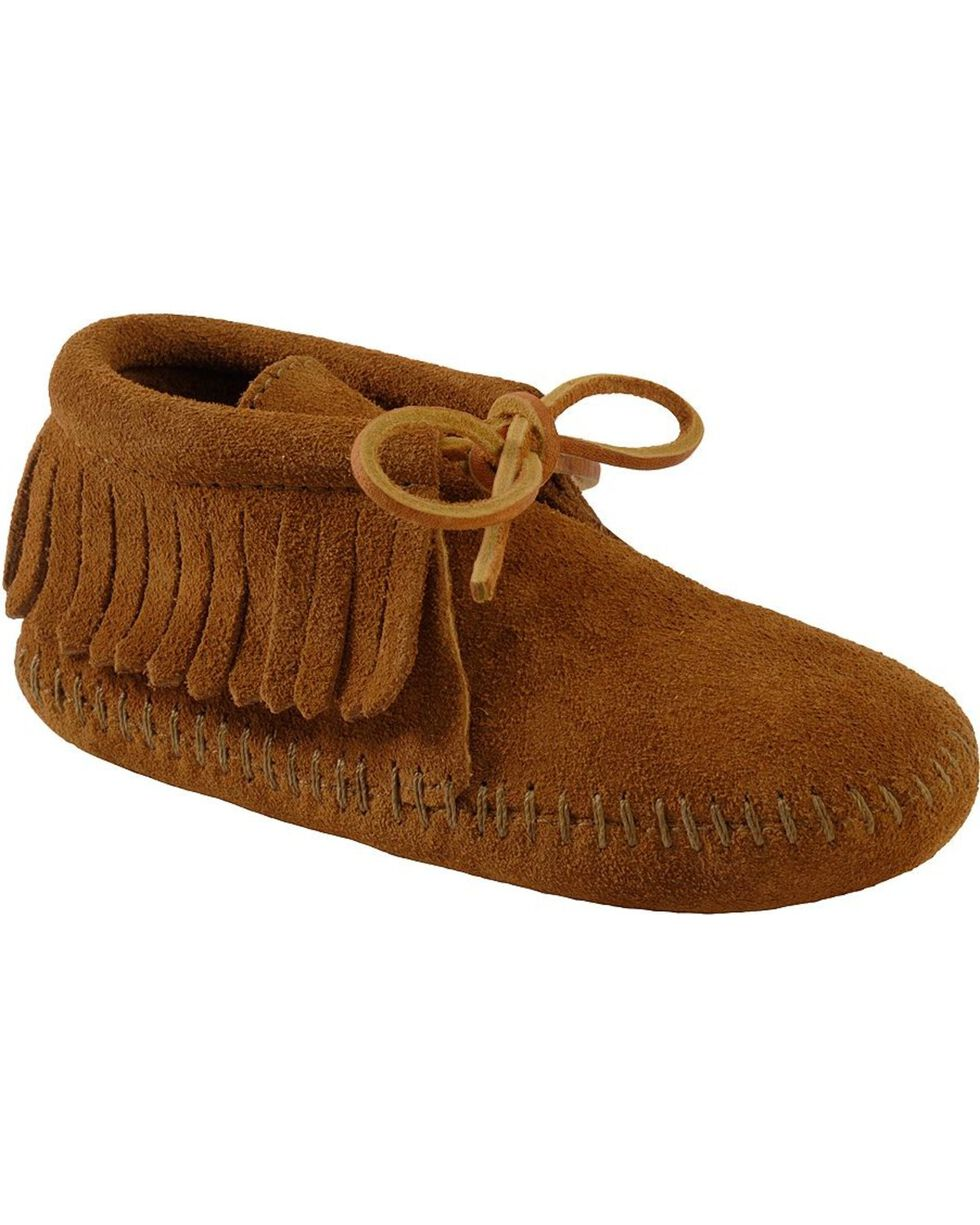 Minnetonka Girls' Classic Fringe Bootie Moccasins, Brown, hi-res