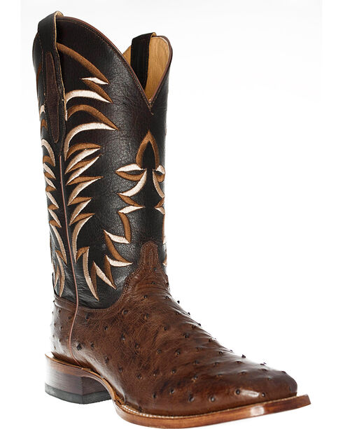 Cinch Men's Embroidered Ostrich Exotic Boots, Tobacco, hi-res