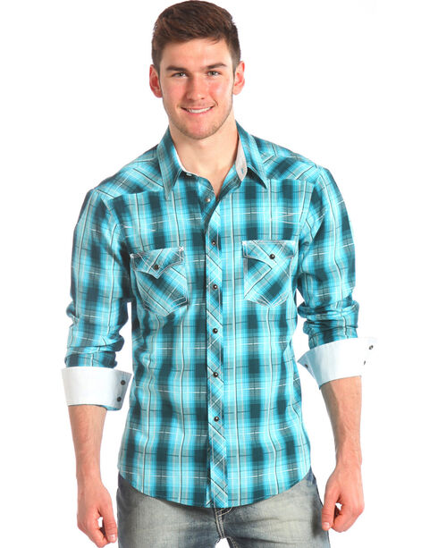 Rock & Roll Cowboy Men's Plaid Long Sleeve Western Shirt, Blue, hi-res