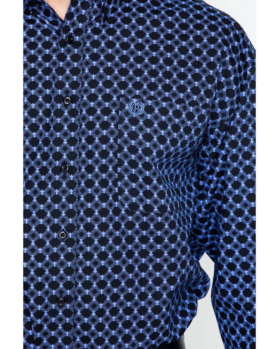 Panhandle Men's Blue Diamond Print Western Shirt , Blue, hi-res