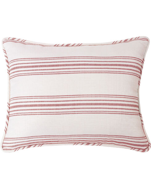 HiEnd Accents Prescott Red Stripe Pillow Sham Set - Queen , Red, hi-res
