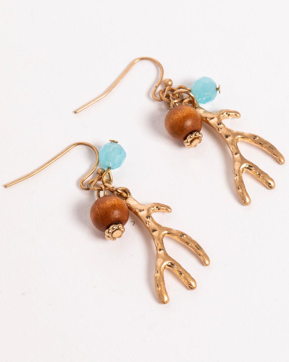 Shyanne Women's Beaded Antler Earrings, Gold, hi-res