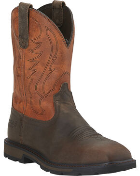 Ariat Men's Groundbreaker Steel Toe Western Work Boots, Brown, hi-res