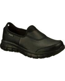 Skechers Women's Black Sure Track Slip Resistant Slip-On Work Shoes , Black, hi-res