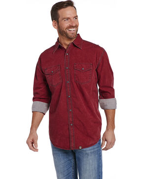 Cowboy Up Men's Burgundy Snap Shirt , Burgundy, hi-res