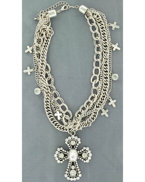 Blazin Roxx Multi Chain Cross Necklace, Silver, hi-res