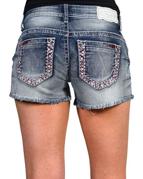 Shyanne® Women's Americana Cutoff Shorts, Blue, hi-res