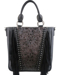 Montana West Trinity Ranch Black Tooled Design Concealed Handgun Collection Handbag, , hi-res