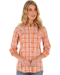 Wrangler Women's Long Sleeve Orange Plaid Whipstitch 2 Pocket Shirt, , hi-res