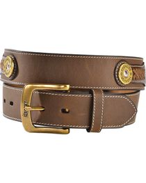 Rocky Camo Print Inlay & Shotgun Shell Concho Leather Belt, , hi-res