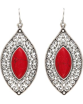 Wrangler Rock 47 Knotted Lace Red Marquis Earrings, Silver, hi-res
