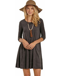 Rock & Roll Cowgirl Women's Dark Grey Micro Suede Swing Dress , Dark Grey, hi-res
