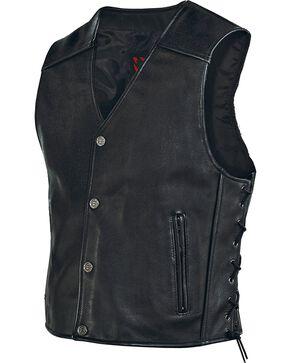 Milwaukee Men's Joker Leather Motorcycle Vest, Black, hi-res