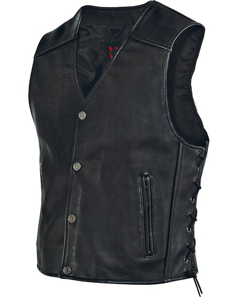 Milwaukee Men's Joker Leather Motorcycle Vest, Black, hi-res