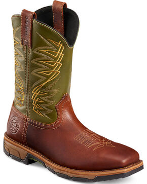 Red Wing Irish Setter Men's Green Marshall Work Boots - Steel Toe , Brown, hi-res