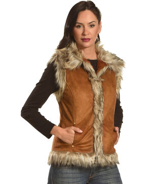 Tasha Polizzi Women's Saddle Brown Luxe Fur Trimmed Vest, Tan, hi-res