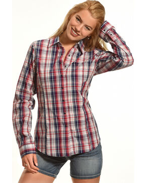 Shyanne® Women's Plaid Button Down Long Sleeve Shirt , Multi, hi-res