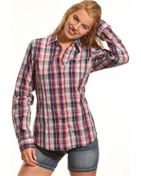 Shyanne® Women's Plaid Button Down Long Sleeve Shirt , Multi, hi-res