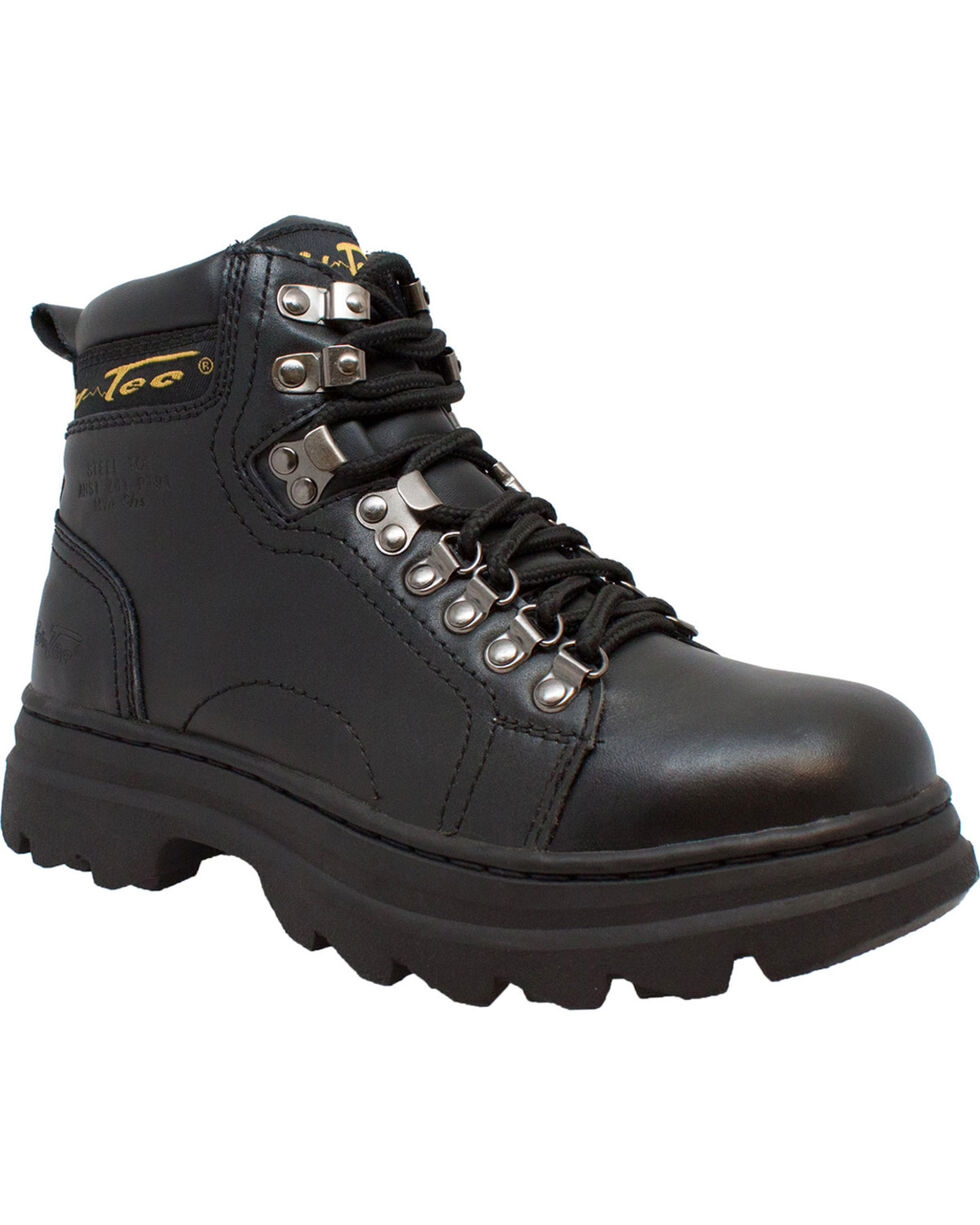 "Ad Tec Women's 6"" Leather Work Boots - Steel Toe, Black, hi-res"