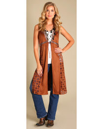 Wrangler Women's Faux Suede Laser Cut Duster, Brown, hi-res