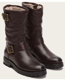 Frye Women's Dark Brown Natalie Mid Engineer Lug Shearling Boots, , hi-res