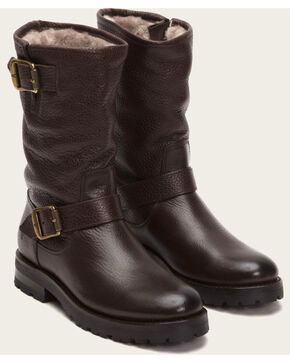 Frye Women's Dark Brown Natalie Mid Engineer Lug Shearling Boots, Dark Brown, hi-res