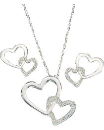 Montana Silversmiths Women's Double Heart Jewelry Set, , hi-res
