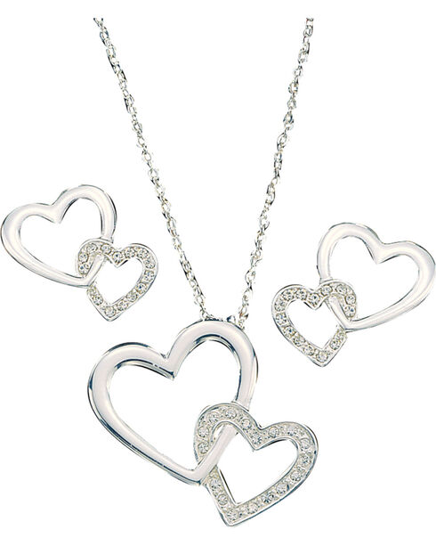 Montana Silversmiths Women's Double Heart Jewelry Set, Silver, hi-res