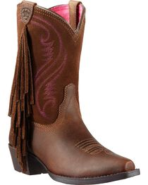 Ariat Girl's Fancy Fringe Western Boots, , hi-res