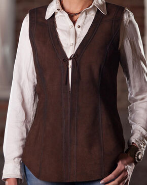 Ryan Michael Women's Choco Reversible Leather Vest , Brown, hi-res
