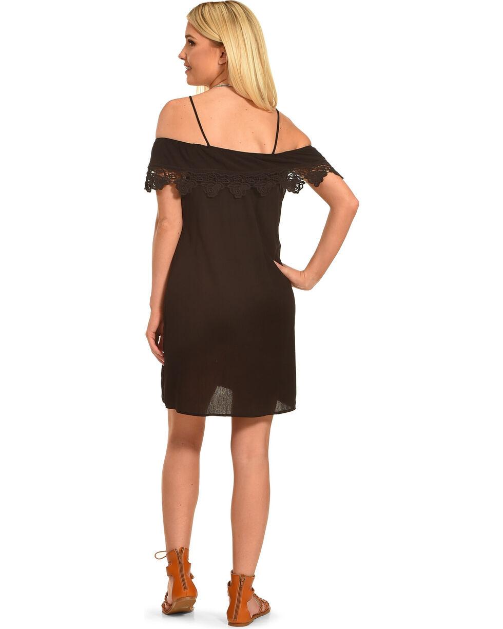 Jody of California Women's Lace Trim Cold Shoulder Dress, Black, hi-res