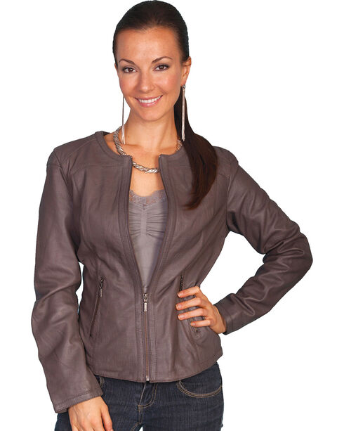 Scully Lambskin Zip Front Jacket, Grey, hi-res