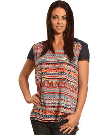 New Direction Sport Women's Navy Lace Sleeve Print Shirt , , hi-res
