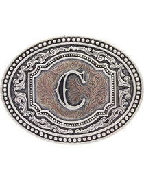 "Montana Silversmiths Men's Initial ""C"" Two-Tone Attitude Belt Buckle, , hi-res"