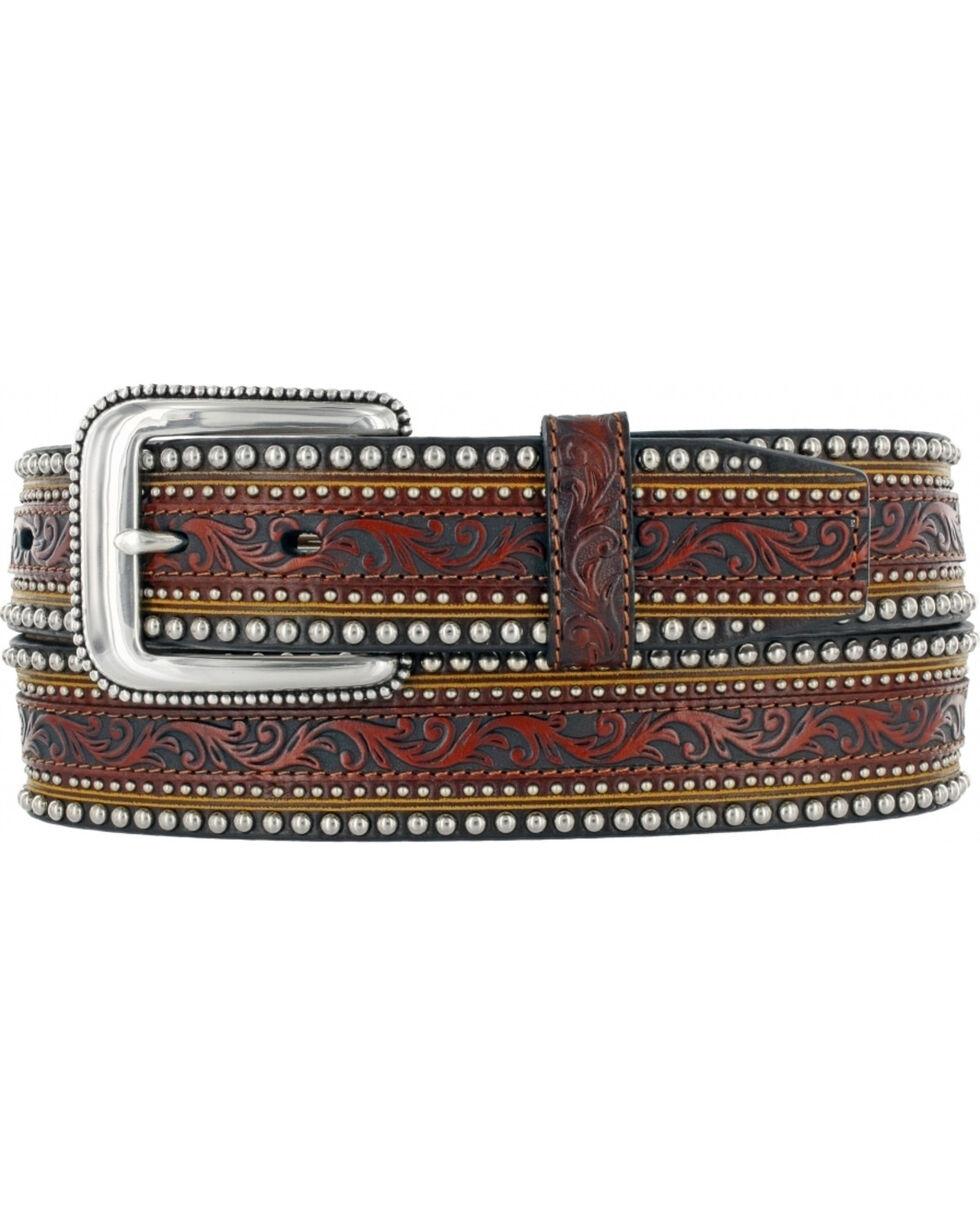 Tony Lama Men's Jagged Rail Western Leather Belt, Tan, hi-res