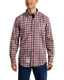 Carhartt Men's Flame Resistant Dark Red Classic Plaid Shirt, , hi-res