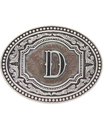 "Montana Silversmiths Men's Initial ""D"" Two-Tone Attitude Belt Buckle, , hi-res"
