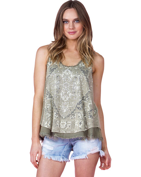 Miss Me Women's Olive Printed Cross Back Tank , Olive, hi-res