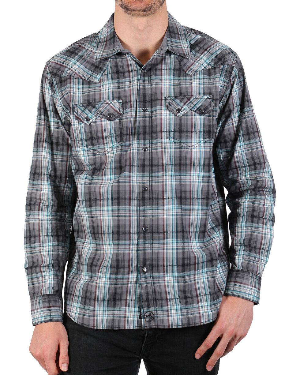 Moonshine Spirit Men's Wavelength Plaid Long Sleeve Shirt, Grey, hi-res