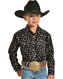 Red Ranch Boys' Horse Print Shirt with White Stitching, , hi-res