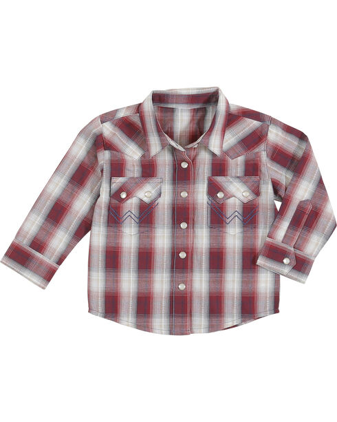 Wrangler Infant Boys' Long Sleeve Snap Placket Plaid Shirt, Red, hi-res