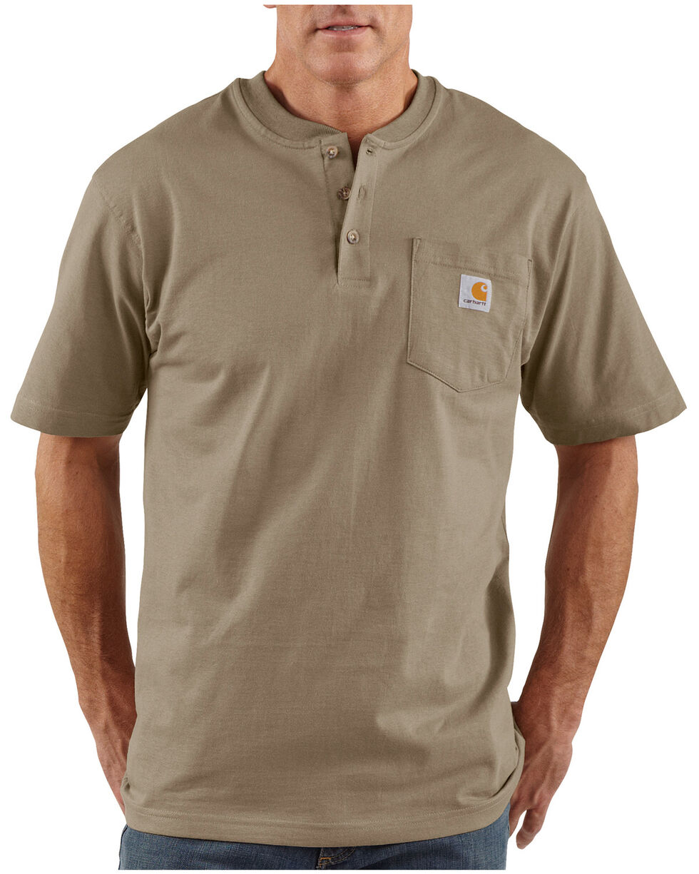 Carhartt Short Sleeve Henley Work Shirt, Desert, hi-res