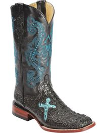 Ferrini Sparkly Cross Inlay Caiman Print Cowgirl Boots - Wide Square Toe, , hi-res