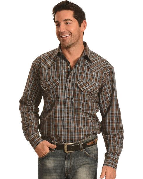 Crazy Cowboy Men's Brown and Black Plaid Western Snap Shirt , Black, hi-res