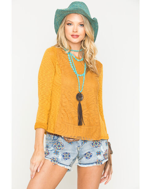 Jolt Women's Mustard Lace Overlay Top , Dark Yellow, hi-res