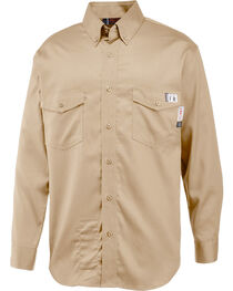 Wolverine Men's Khaki Firezero FR Twill Long Sleeve Shirt, , hi-res