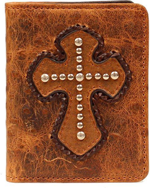 Nocona Studded Cross Overlay Ostrich Print Bi-fold Wallet, Brown, hi-res